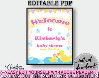 Yellow Rubber Duck Baby Shower Duck Editable Greetings Greet Guests WELCOME SIGN, Shower Celebration, Party Supplies - rd001