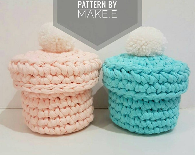 T-shirt Yarn Pompotlet Basket Crochet Pattern