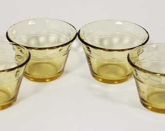 ForteCrisa Thumbprint Amber Custard Cups Set of 4, Made in Mexico, 1950s Vintage