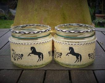 Handmade lanterns x2, Handmade horse lanterns, Horse silhouette, fairy jar lantern, horse candle holder, night light, LED candle holder