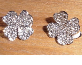 Four Leaf Clover Sparkly Rhinestone Earrings Clip On