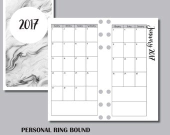 12 MONTH CALENDAR Personal Ring Sized Printable Insert