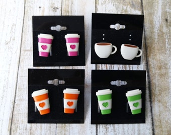 Coffee Cup & Coffee Mug Stud Earrings