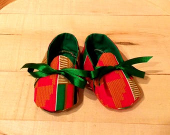 Red Black and Green African Kente Print Baby Booties