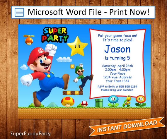 Super Mario Invitation Mario Birthday Invitation Editable