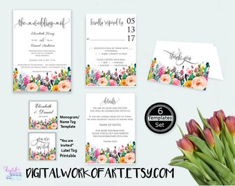 Wedding Invitation Template, DIY Floral Bohemian Wedding Invitation Set Printable,Editable Wedding Invite, PDF instant download, boho,