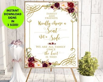 Choose a Seat not a Side Sign, Choose a Seat Sign, Wedding Sign, Welcome Wedding Sign,Wedding Signs Printables PDF Instant Download, #LC-S01