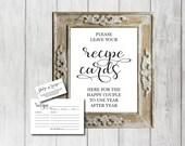 Recipe Card Set, Rustic, Bridal Shower Recipe Card, Deluxe Set, DIY Wedding, Template, DIY Editable PDF, Printable Instant Download E120C