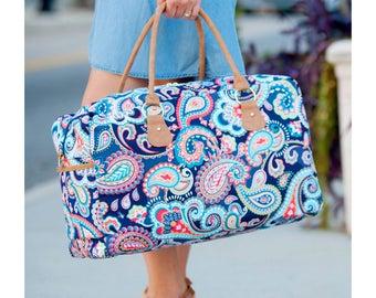 Monogram Weekender Bag - Canvas Tote - Ladies Tote - PAISLEY Weekender Tote - Monogram Bag Monogram Tote Bag - SPRING PAISLEY