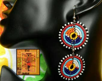 Multicolor disc shaped beaded earrings/ Ethnic jewellery/ Masai bead earrings