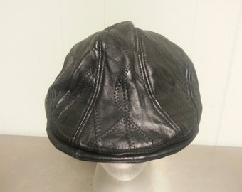 Vintage 90's Stitched Leather Newsboy Cabbie Dad Hat Velcro Strap Back Golf Cap