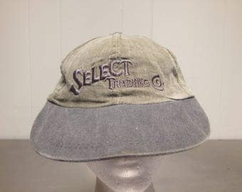 Vintage 90's Select Trading Co Velcro Strap Back Dad Hat Minimal Spell Out