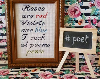Roses are Red....Penis framed cross stitch