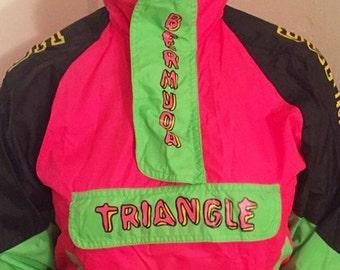 Neon Bermuda Triangle Windbreaker Perfect Condition