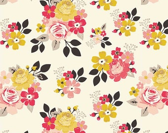 Vintage Main Cream, Riley Blake Designs,  Flowers, 100% Quilting Cotton Fabric, Choose your Cut