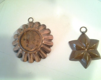 copper kitchen molds, tin lined, pair