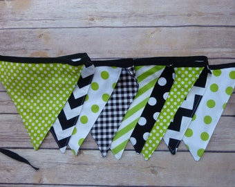 Lime Green and Black Banner, Birthday Party Decoration, Bunting, Fabric Banner, Flags, Photography Prop, Garland , Chevron, Dots