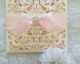 Laser Cut Invitation/weddings/sweetsixteen/weddings/Baptism/First Communion
