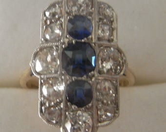 Beautiful Art Deco Sapphire and Diamond Plaque Ring 18 carat Yellow Gold