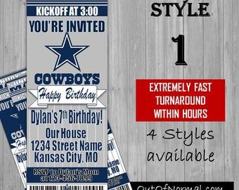Dallas Cowboys Themed Birthday Invitation Tickets - Football Birthday Invitations -Personalized - 4 styles!