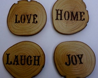 Branded reclaimed wood coasters