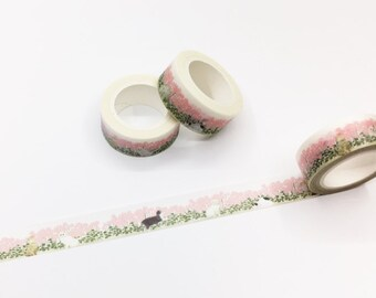 Cats and Flowers - Girls Washi Tape/Pink Set