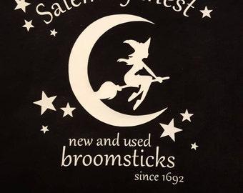Salem broomstick shirt, black, Salem witch shirt, halloween shirt, glow in the dark