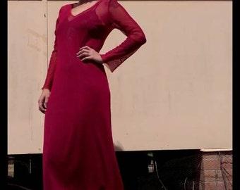 Long flare sleeve sheer rich red burgundy maxi mesh dress 90s grunge glam elegant goth vamp witchy elvira