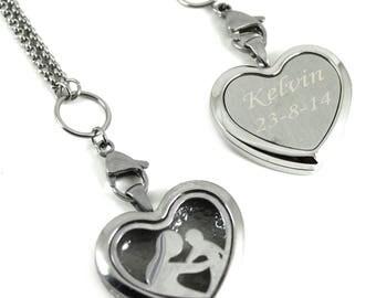 Engraved DIY Breast Milk Stainless Steel Baby 1st Love Locket Kit, Do it Yourself DNA Breastmilk keepsake.