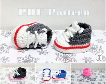 Converse Style Shoe Pattern Crochet Baby Sock Monkey Sneaker Pattern Bootie Pattern