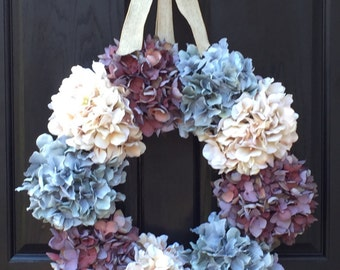 Hydrangea Wreath, Door Wreath, Blue Wreath, Summer Wreath, Year Round Wreath, Grapevine Wreath, Wreath Street Floral, Wreath, Spring Wreath