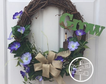 Summer Wreath, Purple Wreath, Grapevine Wreath, Wreath Street Floral, Garden Wreath, Front Door Wreath, Wreath, Spring Wreath