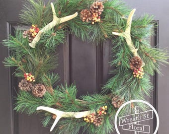 Antler Wreath, Northwoods Wreath, Wildlife Wreath, Hunting Wreath, Wreath Street Floral, Year Round Wreath, Door Wreath, Wreath