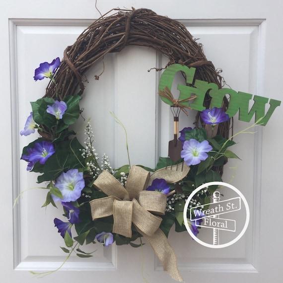 Spring Wreath, Summer Wreath, Purple Wreath, Grapevine Wreath, Wreath Street Floral, Garden Wreath, Front Door Wreath, Wreath, Spring Wreath