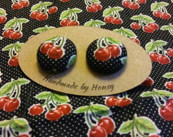 Cherry Rock/Fabric Button Covered Earrings/Nickel Free