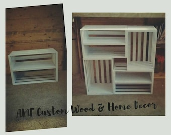 Free shipping- Crate bookshelf. Crate decor. 4 crate inspired bookshelf. bookshelf. Real wood bookshelf. Shabby chic. Vintage. Rustic decor