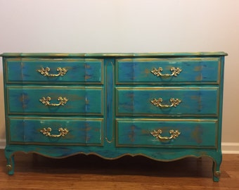 SOLD- 1960's French Provincial  Turquoise Dresser/buffet sideboard