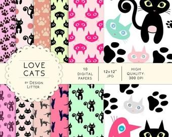 80% Until New Year - Cats digital papers pink fuchsia mint black cat + 7 clip art .JPG&.PNG - digital paper pack, scrapbook paper, scrapbook