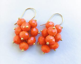 Cluster Earrings, Porcelain Yellow Earrings, Porcelain Orange Earrings ,Porcelain Red Earrings, Cluster Drop Earrings, Czech Glass Beads