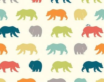 Organic Cotton Knit Fabric - Birch Fabrics - Bear Camp Collection - Bear Multi Color Organic Cotton Knit Fabric