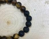 Essential Oil Diffuser Bracelet | Mens Jewelry | Natural Stone | Tigers Eye | Zen Bracelet | Stretch Bracelet | Gift for Him | Mens Bracelet