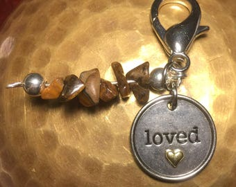 Charms~Pet Charms~Pet Collar Charms~Cat Collar Charms~Dog Collar Charms~Holistic Pet Charms~ Tigers Eye Crystal Pet Charms~Loved Charm~Puppy
