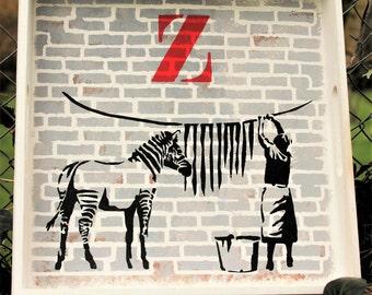 TRAY Banksy style stencil -  homemade