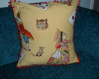 Rare Queen of Heart Cushion with red pom pom trimm