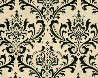 Premier Prints Traditions Black Linen Damask Fabric by the Yard - Ready to ship