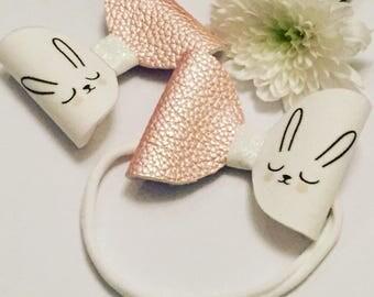 Bunny bows on crocodile clip or nylon headband