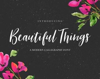 Beautiful Things Font - Handwritten font download - Modern calligraphy font - Font for invitations, wedding, logo, branding,scrapbooking