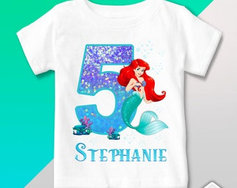 T Shirt Little Mermaid - Birthday Party - Personalized Outfit - Gift favor event