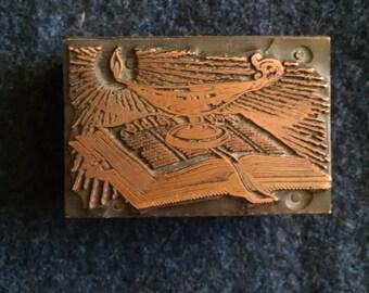 Bible and Lamp Vintage Letterpress Block