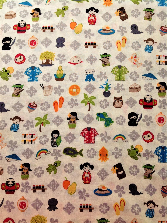 Tomodachi chinese owl nautical island ninji childrens kids for Novelty children s fabric